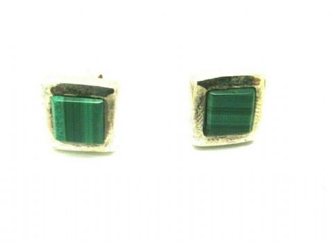 Sterling Silver 925 Square Green Malachite Stud Earrings